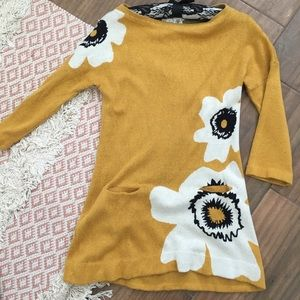 Anthropologie Mustard Knit Dress